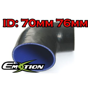 76mm 70mm Silicone 90 Degree Reducer Hose Black - Emotion ( EASHU04-7076BK )