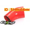 51mm 64mm Silicone 45 Degree Reducer Hose Red - Emotion ( EASHU04A-5164R )