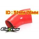 51mm 76mm Silicone 45 Degree Reducer Hose Red  Emotion ( EASHU04A-5176R )