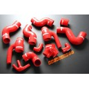 Silicone Turbo Boost Hose Kit Audi S4 B5 V6 Bi-Turbo 2.7L Intercooler AGB AZB (Red) - Autobahn88 (ASHK51-R)