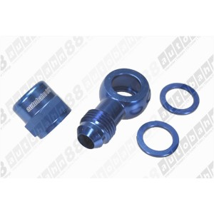 "AN -6 (AN6) Bosch 044 Fuel Pump 12mm (15/32"") Push On Outlet Banjo Adapter Fitting with Cap - Autobahn88 - (FT163-AN6-Kit)"