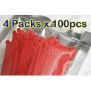 "4 packs x 100pcs Cable Zip Ties Red Colour 4"" 100mm Straps Locking"