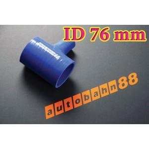 76mm 3 inch Silicone T Piece Hose Dump Valve Blue - Autobahn88 ( ASHU07-76B )