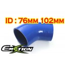 76mm 102mm Silicone 45 Degree Reducer Hose Blue - Emotion ( EASHU04A-76102B )