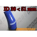 51mm to 38mm Silicone Reducer 45 Degree Elbow Hose Blue - Autobahn88 ( ASHU04A-3851B )