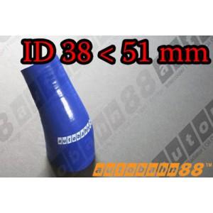 51mm to 38mm Silicone Reducer 45 Degree Elbow Hose Blue - Autobahn88 ( ASHU04A-3851B )