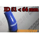 64mm to 51mm Silicone Reducer 45 Degree Elbow Hose Blue - Autobahn88 ( ASHU04A-5164B )