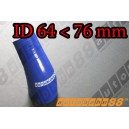76mm to 64mm Silicone Reducer 45 Degree Elbow Hose Blue - Autobahn88 ( ASHU04A-6476B )