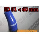 60mm to 51mm Silicone Reducer 45 Degree Elbow Hose Blue - Autobahn88 ( ASHU04A-5160B )