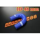 48mm 1.875 inch Silicone Elbow 180 Degree Hose Red / Blue / Black - Autobahn88 ( ASHU09-48B )