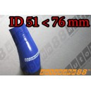 76mm to 51mm Silicone Reducer 45 Degree Elbow Hose Blue - Autobahn88 ( ASHU04A-5176B )