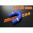 60mm 2.375 inch Silicone Elbow 180 Degree Hose Red / Blue / Black - Autobahn88 ( ASHU09-60B )