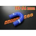 64mm 2.5 inch Silicone Elbow 180 Degree Hose Red / Blue / Black - Autobahn88 ( ASHU09-64B )