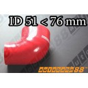 76mm to 51mm Silicone Reducer 90 Degree Elbow Hose Red - Autobahn88 ( ASHU04-5176R )