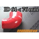 76mm to 64mm Silicone Reducer 90 Degree Elbow Hose Red - Autobahn88 ( ASHU04-6476R )