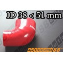 51mm to 38mm Silicone Reducer 90 Degree Elbow Hose Red - Autobahn88 ( ASHU04-3851R )