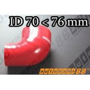 76mm to 70mm Silicone Reducer 90 Degree Elbow Hose Red - Autobahn88 ( ASHU04-7076R )