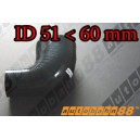 60mm to 51mm Silicone Reducer 90 Degree Elbow Hose Black - Autobahn88 ( ASHU04-5160BK )