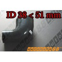 51mm to 38mm Silicone Reducer 90 Degree Elbow Hose Black - Autobahn88 ( ASHU04-3851BK )