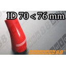 76mm to 70mm Silicone Reducer 45 Degree Elbow Hose Red - Autobahn88 ( ASHU04A-7076R )