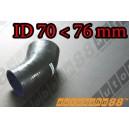 76mm to 70mm Silicone Reducer 45 Degree Elbow Hose Black - Autobahn88 ( ASHU04A-7076BK )