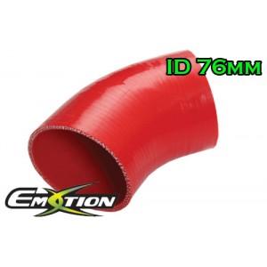 76mm 3 inch 45 Degree Silicone Hose Elbow Red - Emotion ( EASHU03-45D76R )